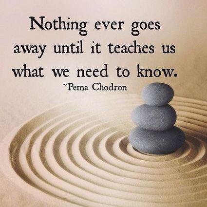[Image] Nothing ever goes away until it teaches us what we need to know.