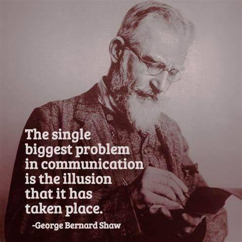 The single biggest problem in communication is the illusion that it has taken place. George Bernard Shaw(850×1200)