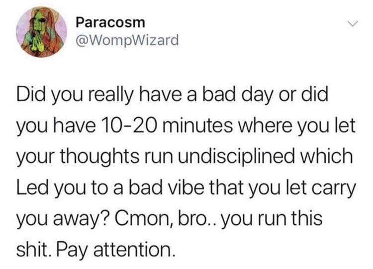, Paracosm ' @Wom pWizard Did you really have a bad day or did you have 10-20 minutes where you let your thoughts run undisciplined which Led you to a bad vibe that you let carry you away? Cmon, bro.. you run this shit. Pay attention. https://inspirational.ly