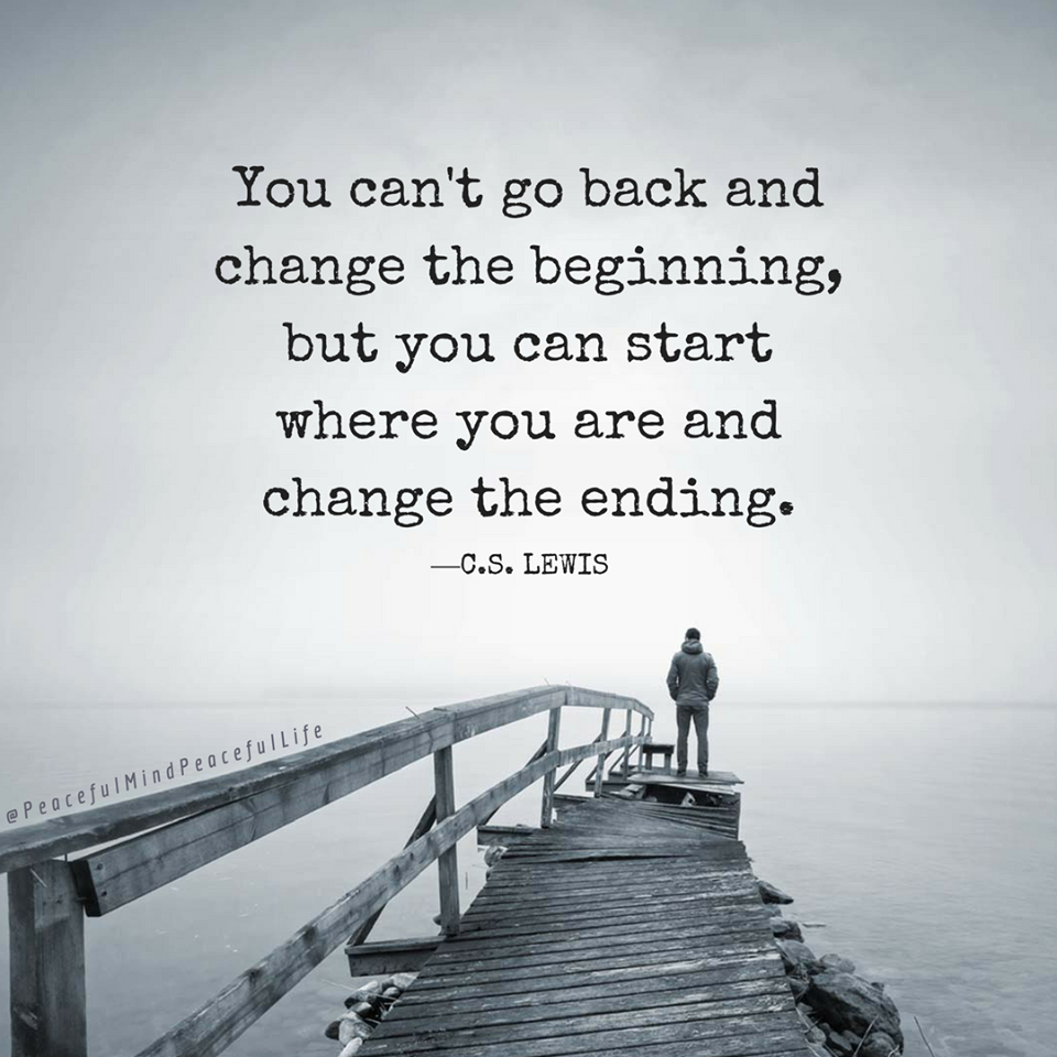 You can't go back and change the beginning but you can start where you are and change the ending-C.S. Lewis (960×960)