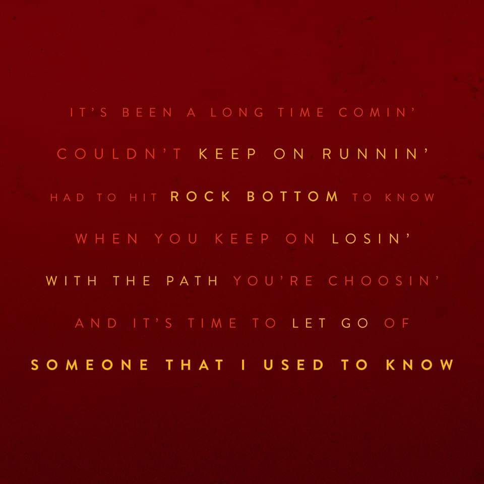 "IT'S BEEN A LONG TIME COMIN' COULDN'T KEEP ON RUNNIN"" HAD TO HIT ROCK BOTTOM TO KNOW WHEN YOU KEEP ON LOS'IN' WITH THE PATH YOU'RE CHOOSIN' AND IT'S TIME TO LET GO OF SOMEONE THAT I USED https://inspirational.ly"