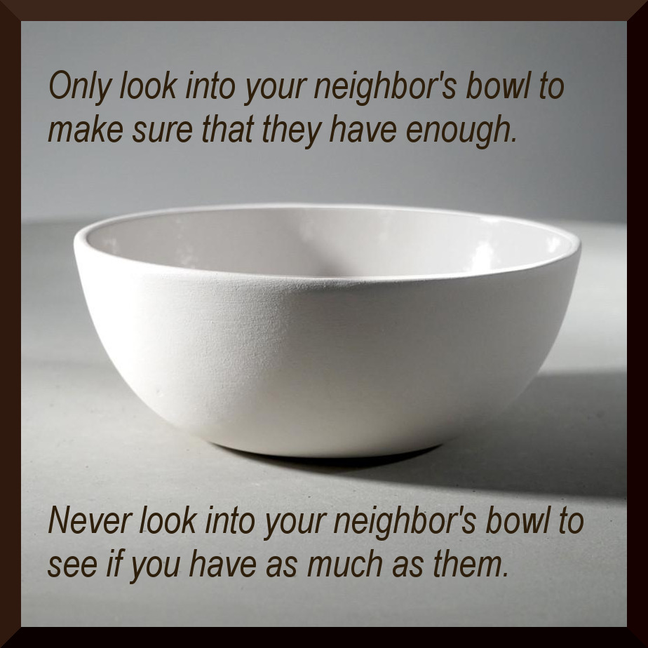 """Only look into your neighbor's bowl to make sure that they have enough. Never look into your neighbor's bowl to see if you have as much as them."" – heavily inspired by Louis CK [924 x 924] [OC]"