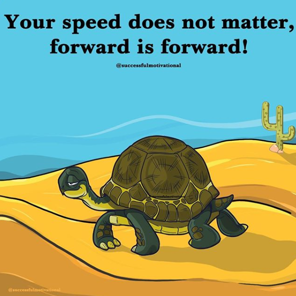 [Image] Whatever your pace, the important thing is to move forward in life
