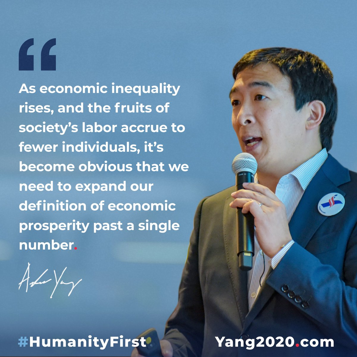 """Its become obvious that we need to expand our definition of economic prosperity past a single number."" -Andrew Yang [1200 x 1200]"