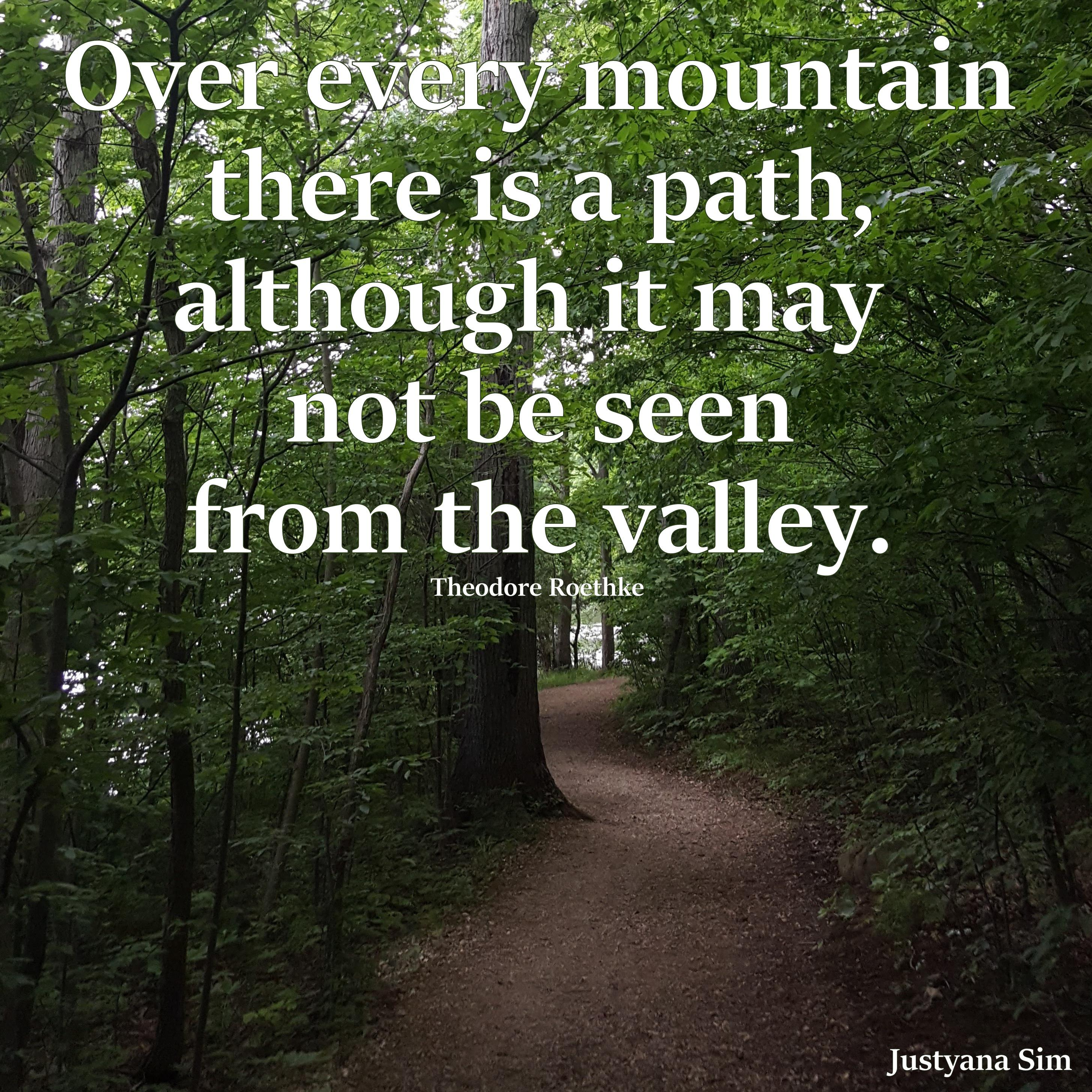 """Over every mountain there is a path, although it may not be seen from the valley."" -Theodore Roethke (2911×2911)"