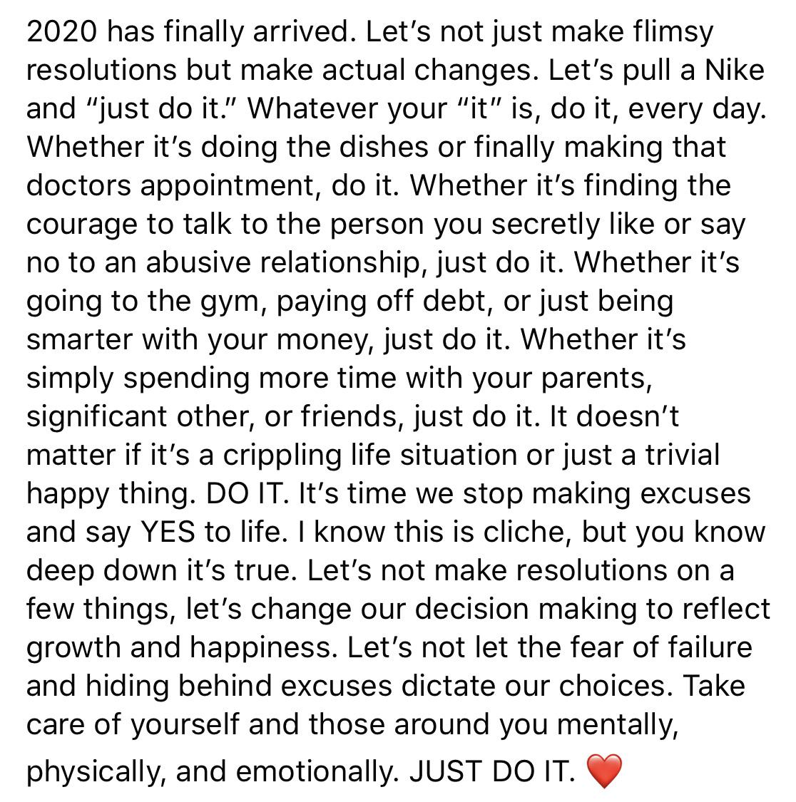 [Image] Let 2020 be the beginning of just doing it.
