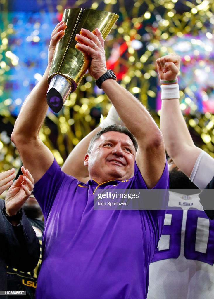 [Image] Fired from Ole Miss in 2007, snubbed as USC's head coach candidate in 2013, became LSU's interim head coach in 2016, and finally won it all last night. This man kept grinding in spite of personal and professional setbacks since 1984. Never give up.