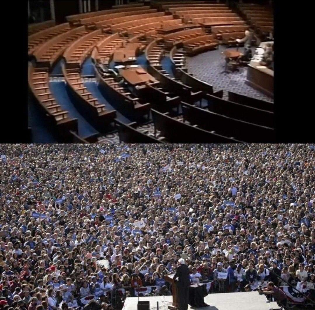 [IMAGE] Never Stop Believing in yourself. Even if no one believes in YOU. (Bernie 1991 speech on Gulf War. Bottom 2019 speech on Middle East War.)