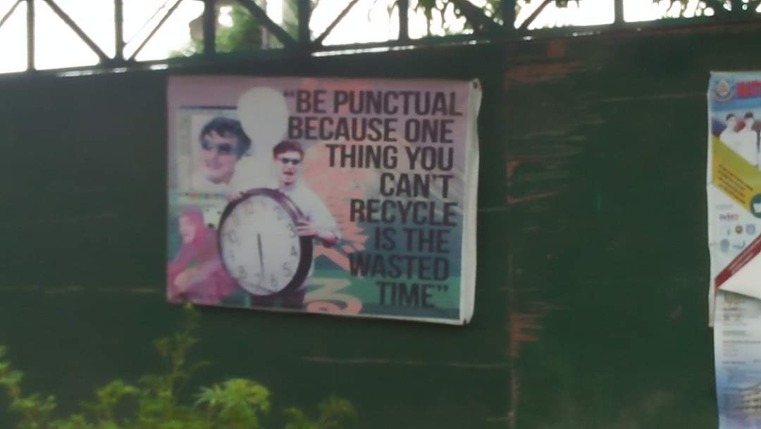 [Image] Time is the only thing you can't recycle. So don't waste it!