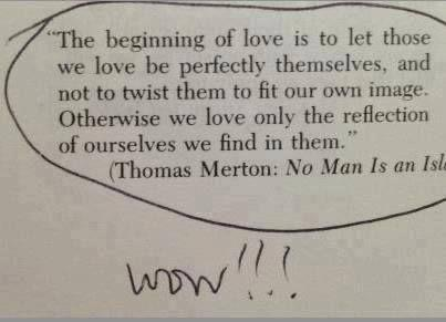"""""""The beginning of love is to let those we love be perfectly themselves. and not to twist them to fit our own image. Otherwise we love only the reflection of ourselves we find in them."""" (Thomas Merton: N0 Man Is an [814 https://inspirational.ly"""
