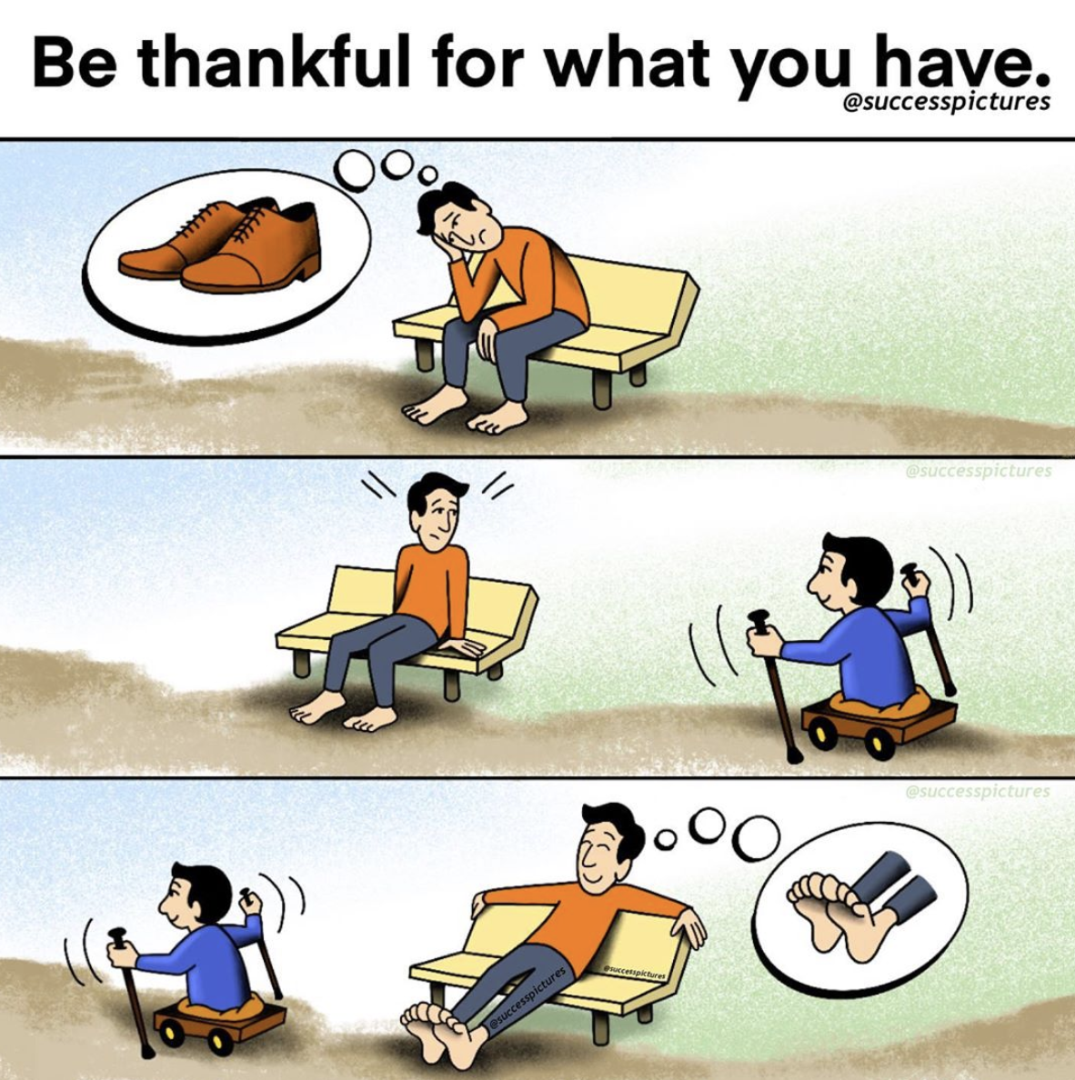[Image] Being thankful for what you have rather than envious of what you don't have makes all the difference in life.