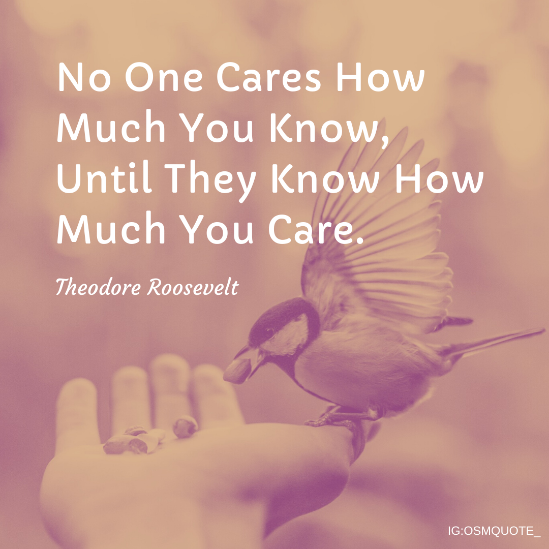 No One Cares How Much You Know, Until They Know How Much You Care – Theodore Roosevelt [1080×1080]