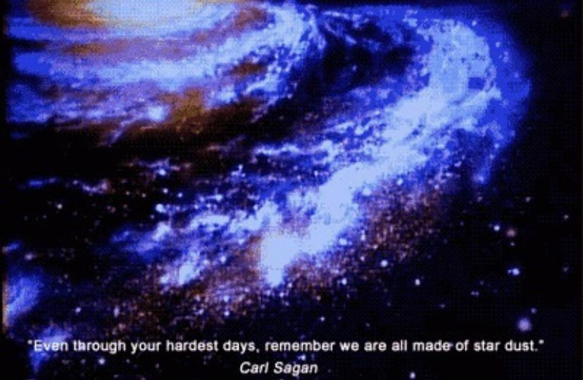 "[Image] ""Even through your hardest days, remember we are all made of Star Dust."" – Carl Sagan"