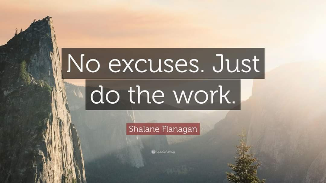 [Image] No excuses. Just do the work.