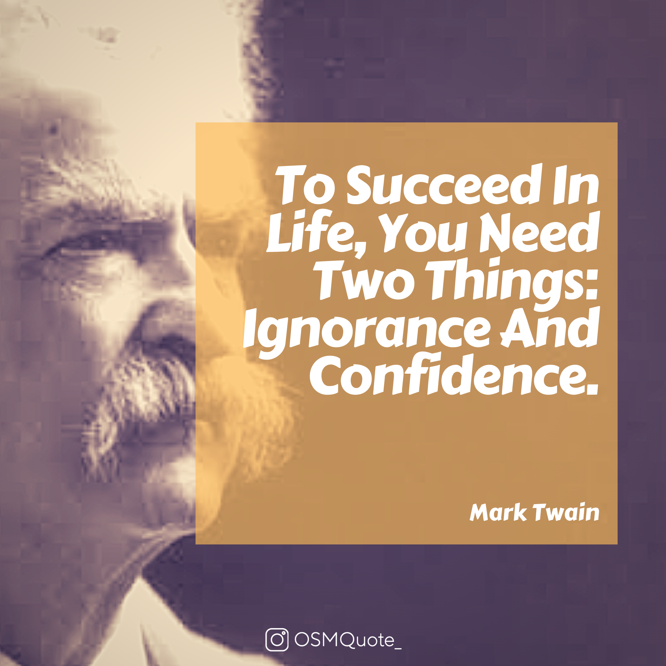 To Succeed In Life, You Need Two Things: Ignorance And Confidence. – Mark Twain (2160×2160)
