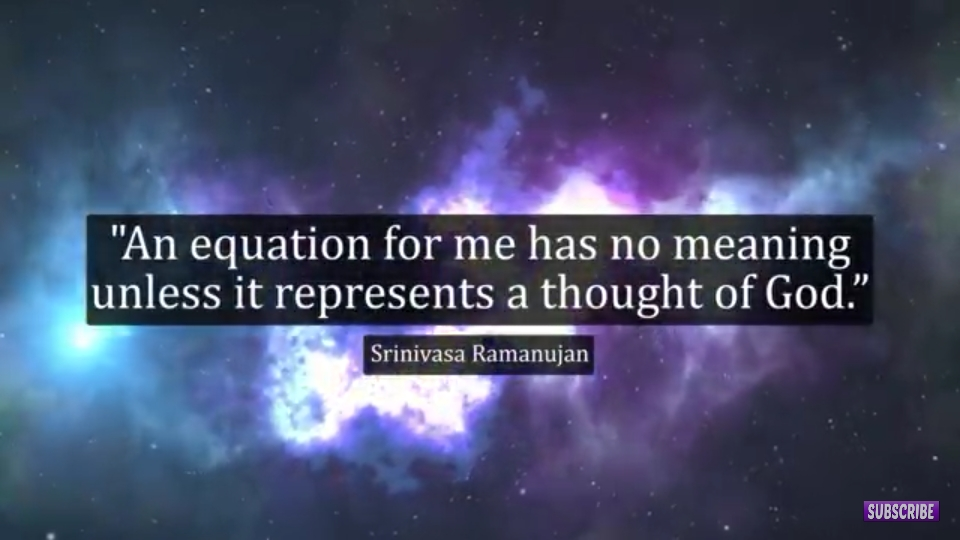 """'5. J E'. """"An equation for me has no meaning unless it represents a thought of God."""" Srinivasa Ramanujan . . '. https://inspirational.ly"""