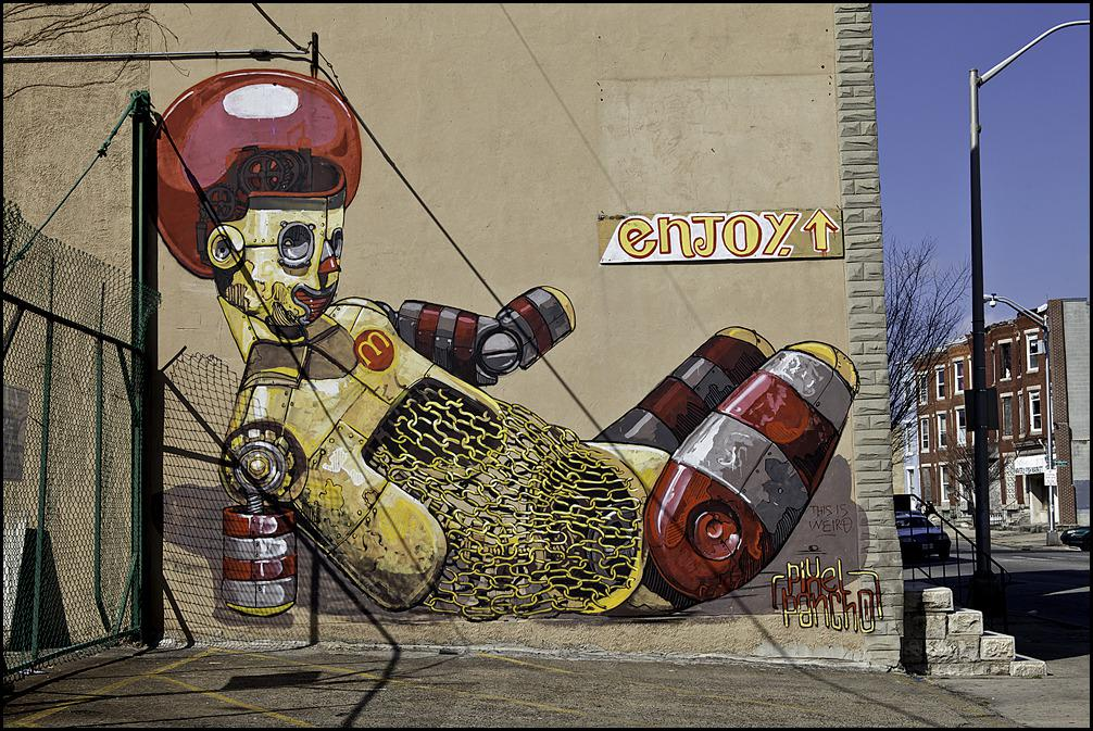 "[Image] ""Enjoy your McDonalds and Diabetes"", Art by Pixel Pancho on a Baltimore building two blocks from a McDonalds. Don't let fast food destroy your body."