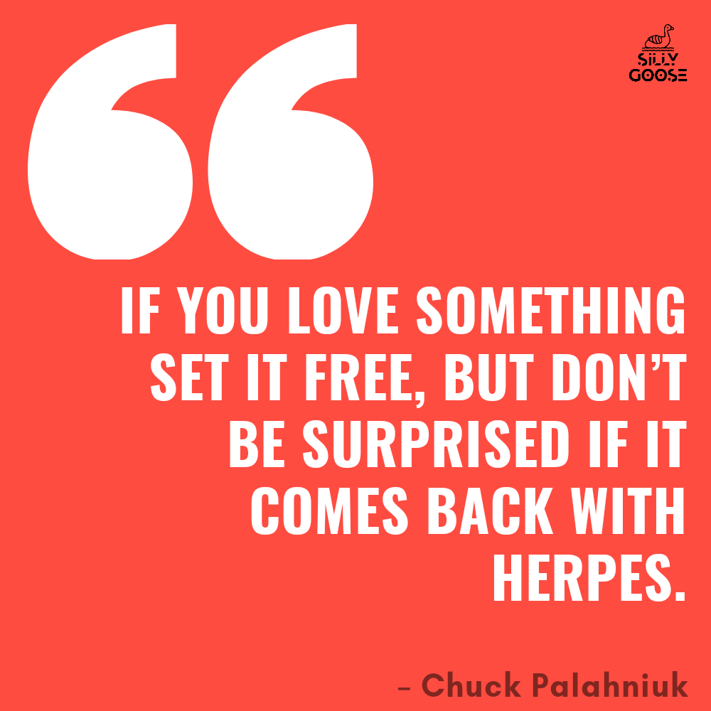 """If you love something set it free, but don't be surprised if it comes back with herpes."" –Chuck Palahniuk [1000×1000]"