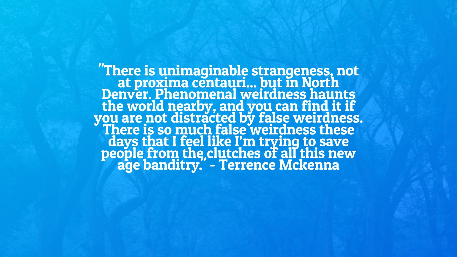 """There is unimaginable strangeness, not at proxima centauri but in North Denver."" – Terrence McKenna [1920×1080]"