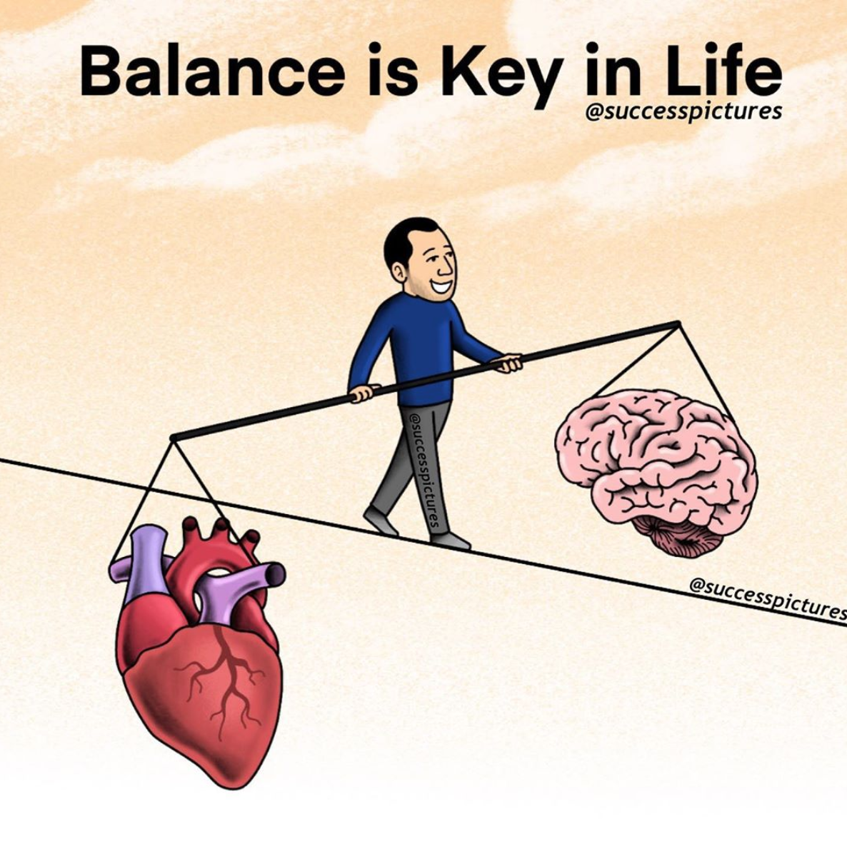 [Image] To live a happy life, you have to find the perfect balance between what your mind dictates and what your heart dictates.