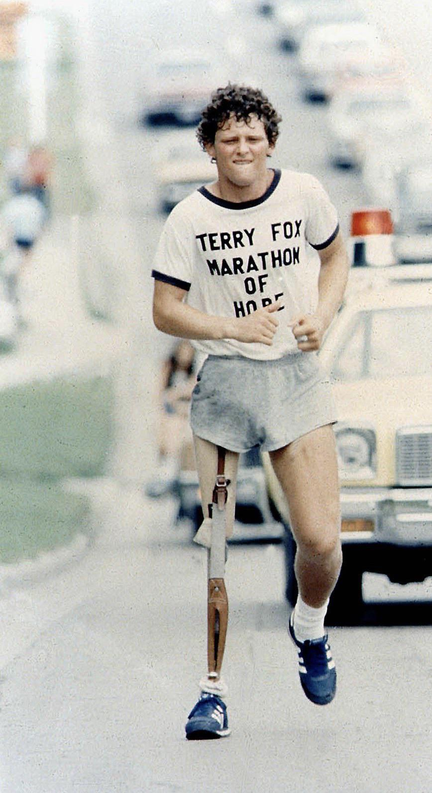 [Image] Terry Fox who 40 years ago, ran 3,339 miles across Canada before dying of cancer at the age of 21.