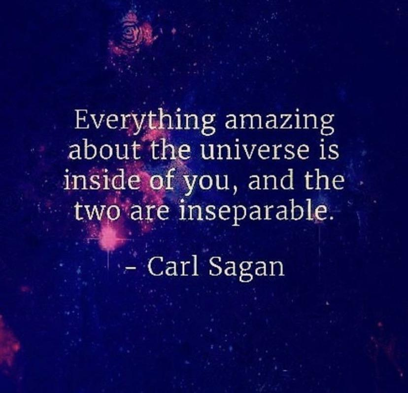 [Image] Everything amazing about the universe is inside of you, and the two are inseparable – Carl Sagan