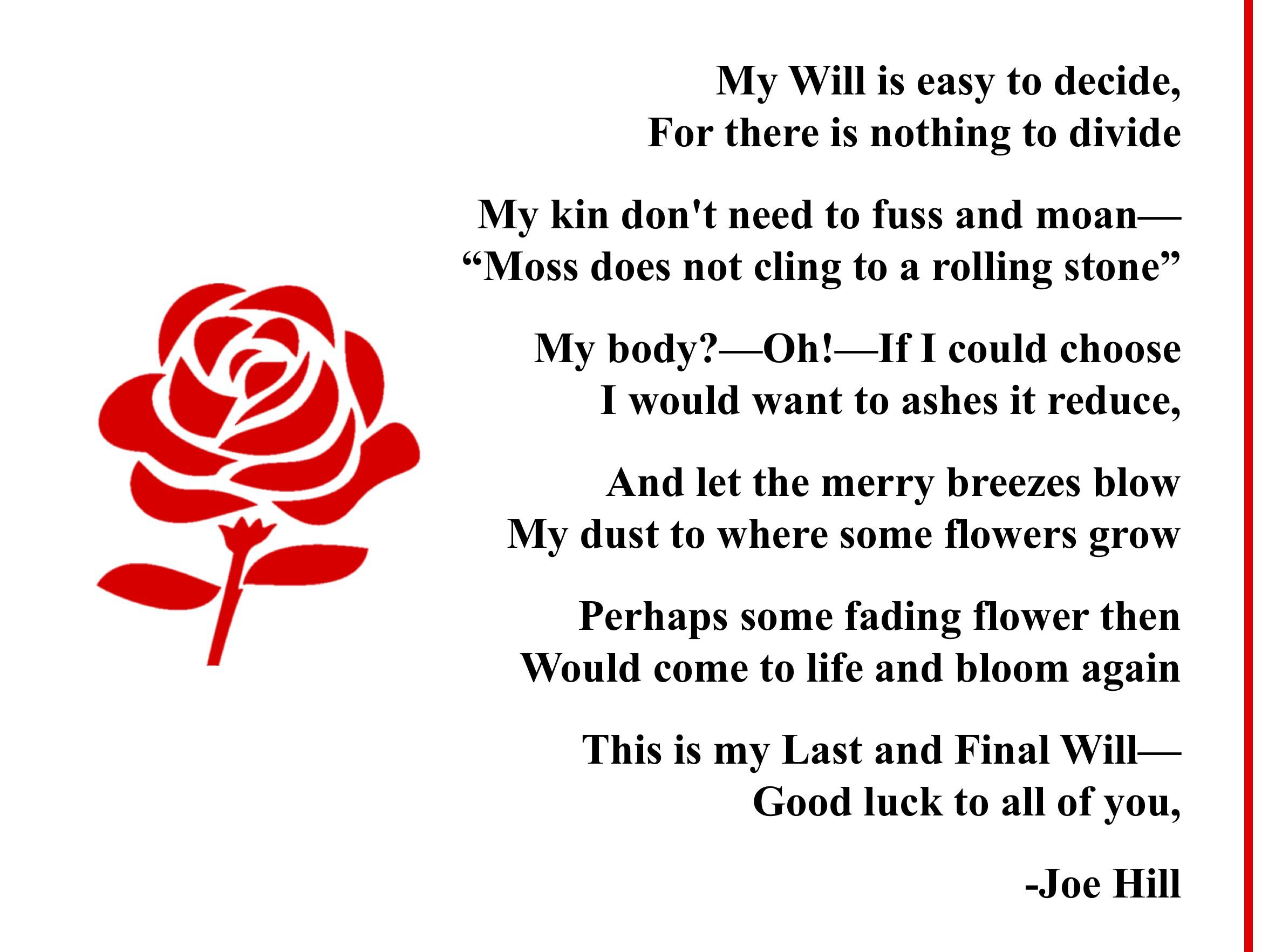 """My Will is easy to decide/For there is nothing to divide…"" -Joe Hill [2376×1764]"