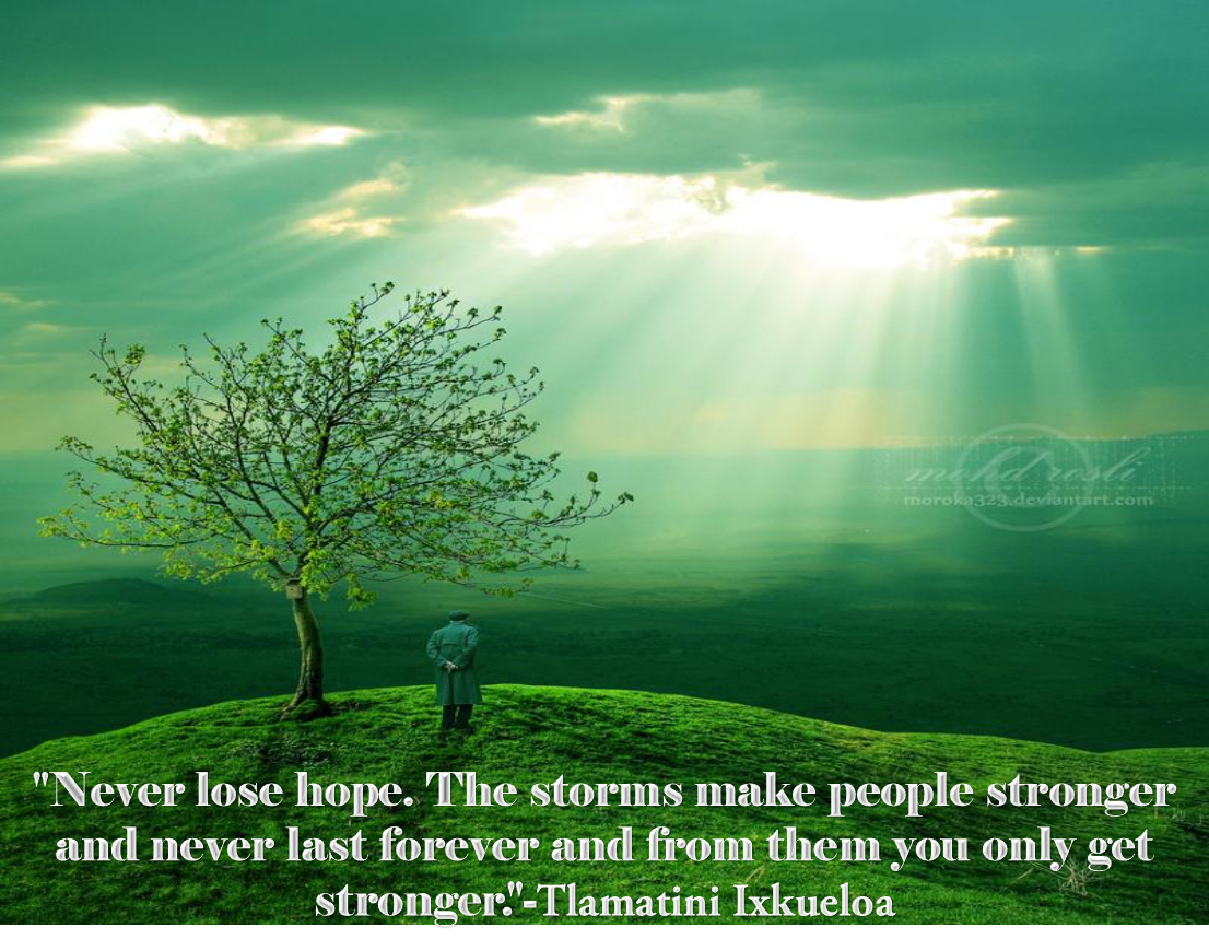 """'--' """"Never lose hope. The storms make people stronger and never last forever and fi'om' them you only get. stronger! '-Tlaniatinii kaueloa https://inspirational.ly"""