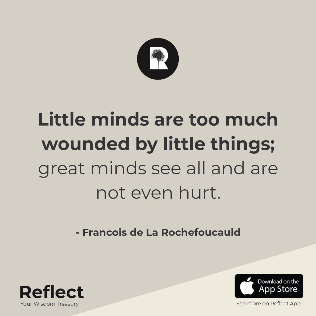 Don't be wounded by little things – Francois de La Rochefoucauld [1100×1100]
