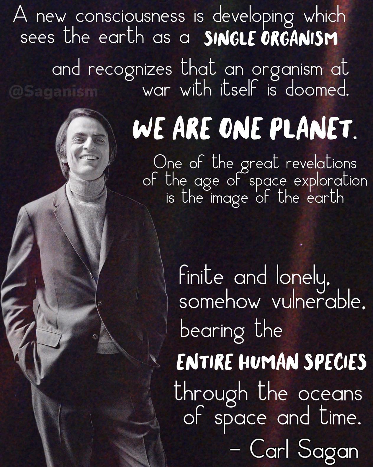 """A New Consciousnesses is developing which sees the earth as a single organism…"" – Carl Sagan [1264 x 1580]"