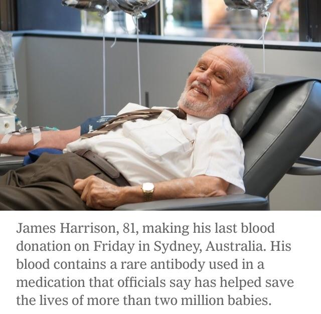[Image] This hero saved millions of kids by donating blood 1,173 times throughout his life