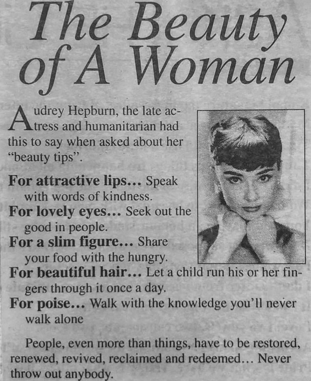 [Image] Audrey Hepburn's take on beauty is beautiful