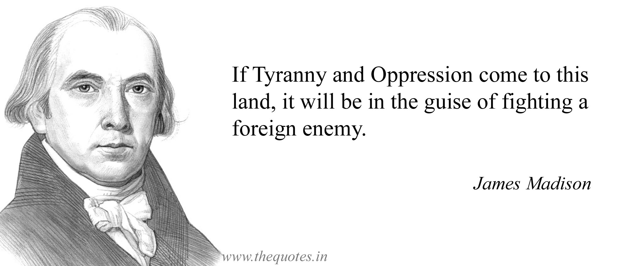 """If tyranny and oppression come to this land, it will be in the guise of fighting a foreign enemy."" – James Madison [2000×850]"