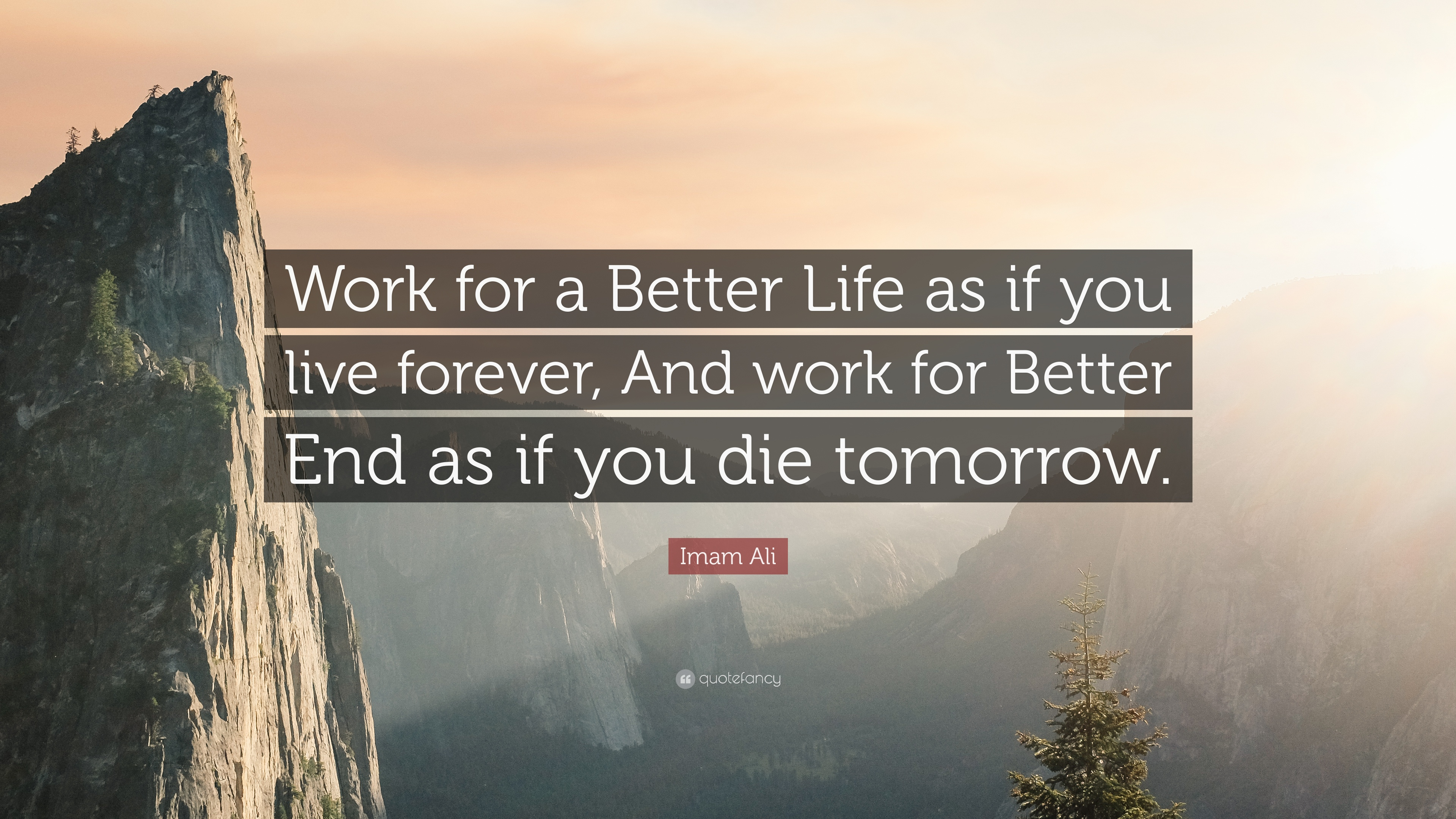 """Work for a Better Life as if you live forever, and work for a Better End as if you die tomorrow"" – Imam Ali (3840X2160)"