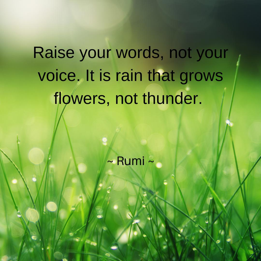 """Raise your words, not your voice. It is rain that grows flowers, not thunder."" ~ Rumi ~ [1080×1080]"