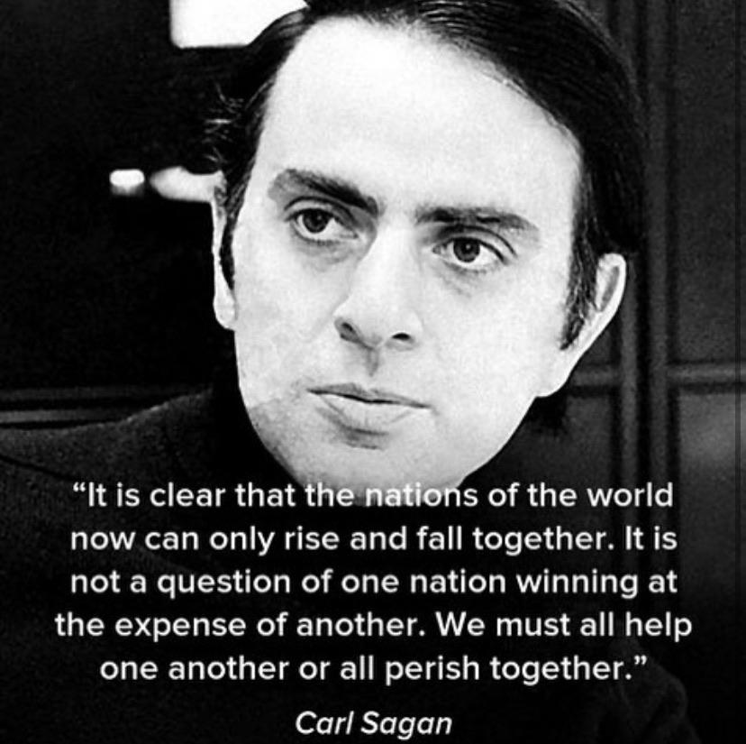 """It is clear that s of the world now can only rise and fall together. It is not a question of one nation winning at the expense of another. We must all help one another or all perish together."" https://inspirational.ly"