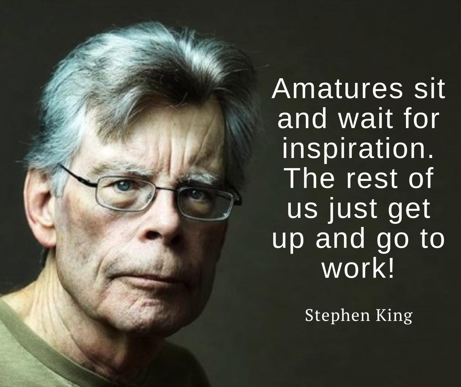 """Amateurs sit and wait for inspiration…"" – Stephen King [1880×1576]"