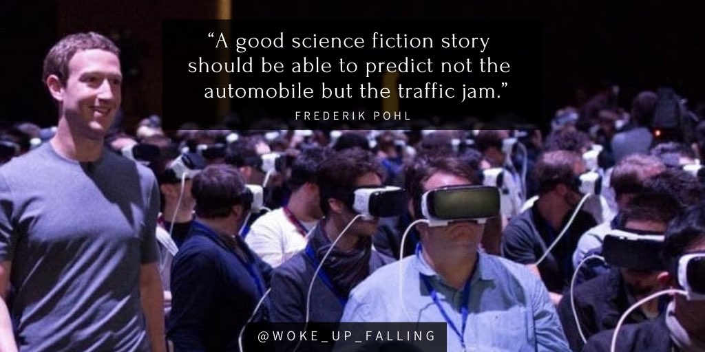 """A good science fiction story should be able to predict not the automobile but the traffic jam."" — Frederik Pohl [1024×512]"