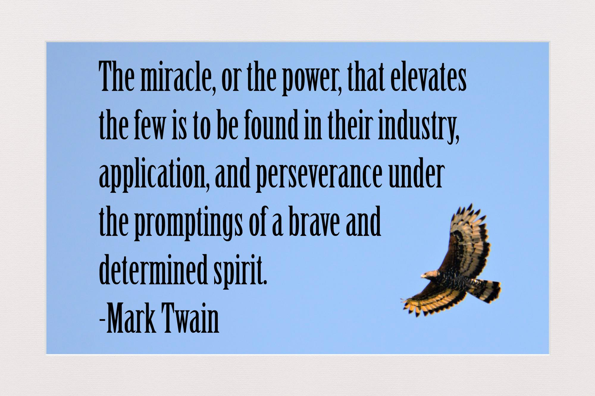 The miracle, or the power, that elevates the few is to be found in their industry, application, and perseverance under the promptings of a brave and determined spirit. —Mark Twain (2000×1333)