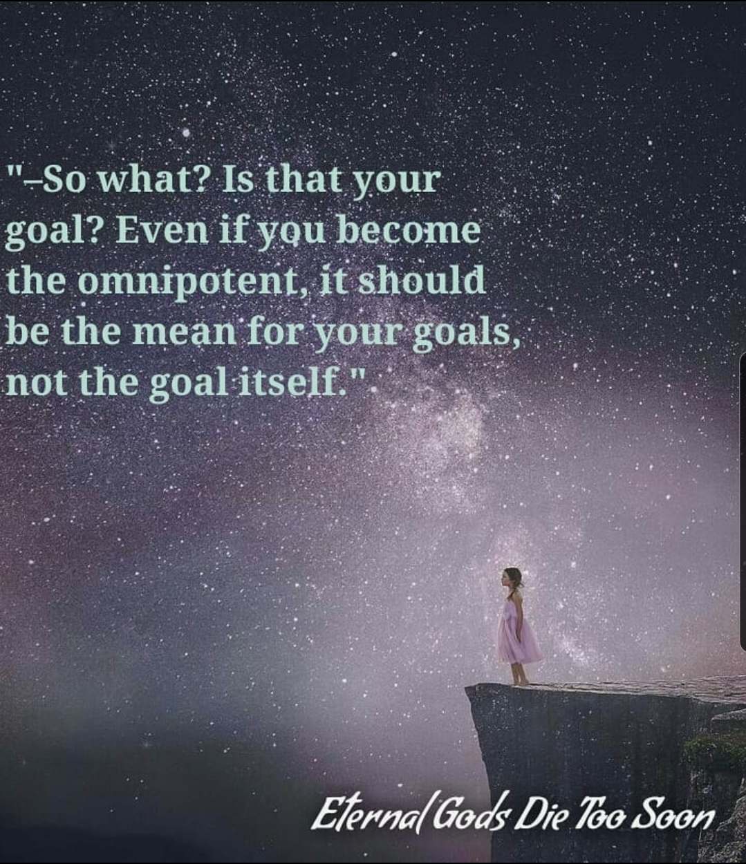 """Even if you become the omnipotent, it should be the mean for your goals, not the goal itself"" Eternal Gods Die Too Soon by Beka Modrekiladze [1079×1250]"