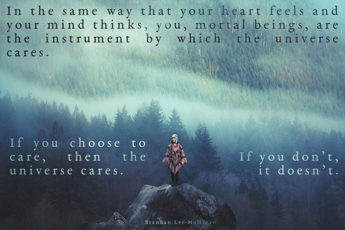 """In the same way that your heart feels and your mind thinks, you are the instrument by which the universe cares."" – Brennan Lee Mulligan [1200×800]"