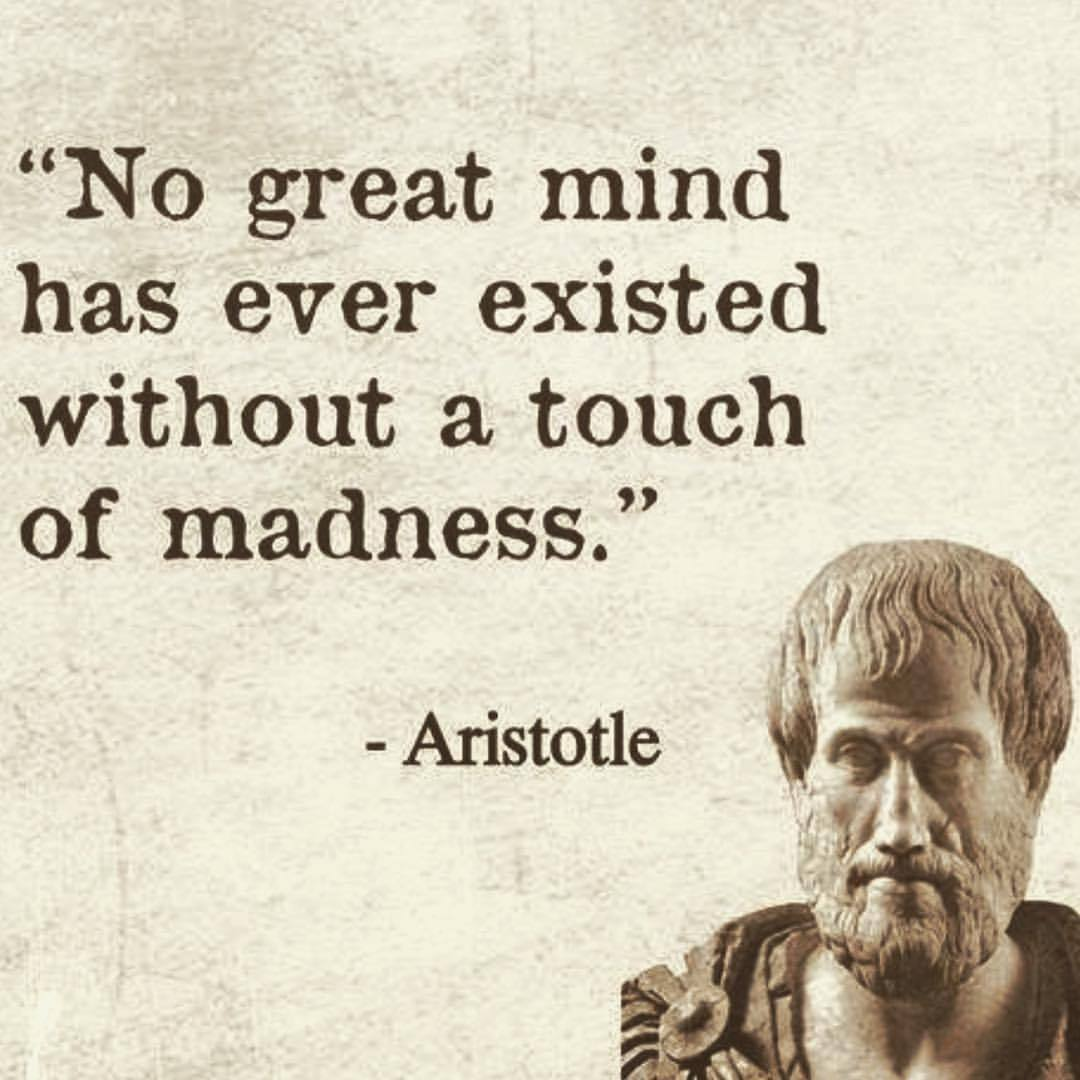 """No great mind has ever existed without a touch of madness."" 4 ' 3 l 37"" ' 'v . ""' 3/ .- K'A'I /' ' ' '1' ' I ¢ ' . m -AIistotle Q ' .I'll.  ' 9 I 1 , https://inspirational.ly"