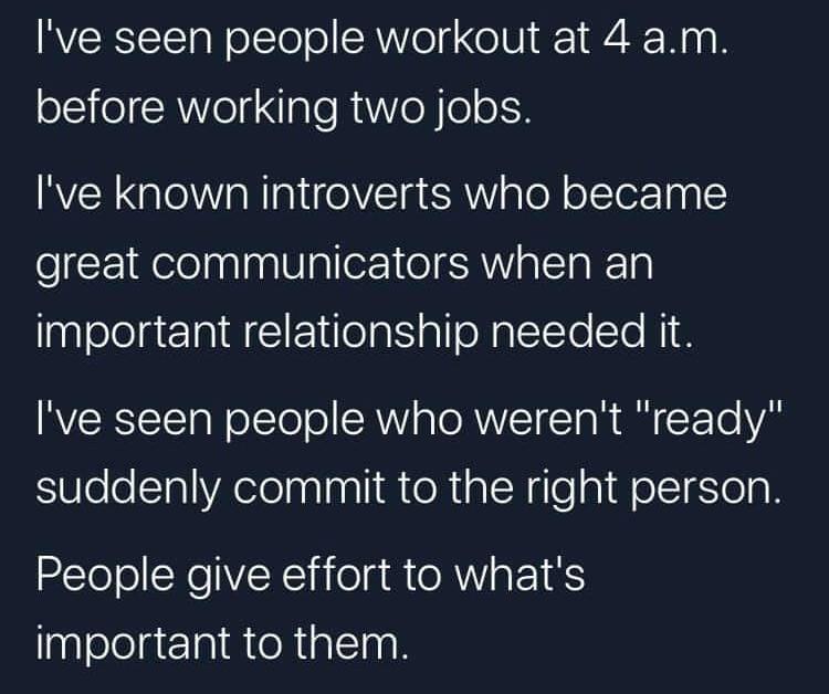 [Image] Give effort to what's important to you!!