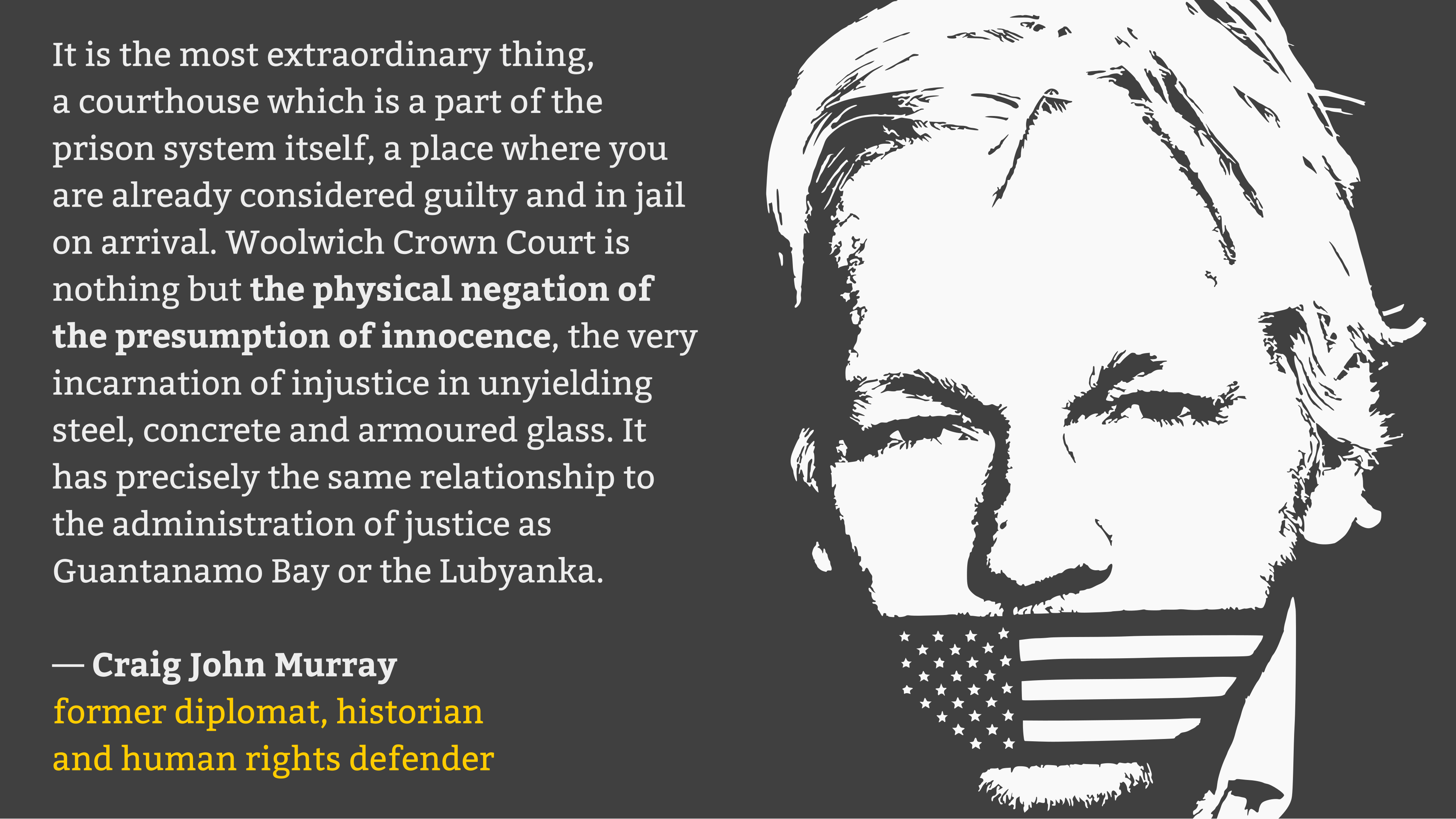 """Woolwich Crown Court is nothing but the physical negation of the presumption of innocence"" — Former diplomat Craig John Murray about Assange's extradition hearing [3840×2160]"