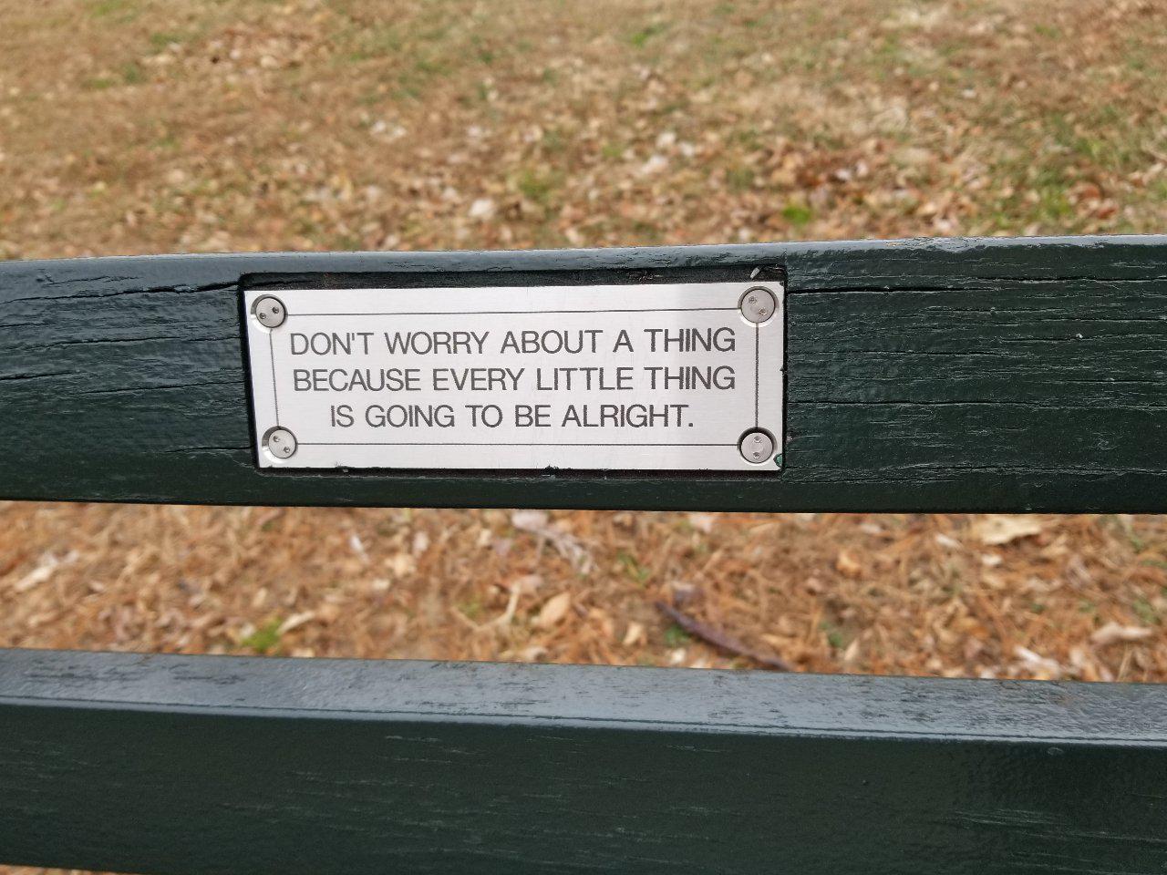 [Image] Central Park bench plaque