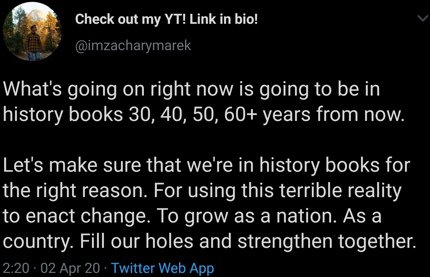 [Image] Let's make sure we're in history books for the right reasons