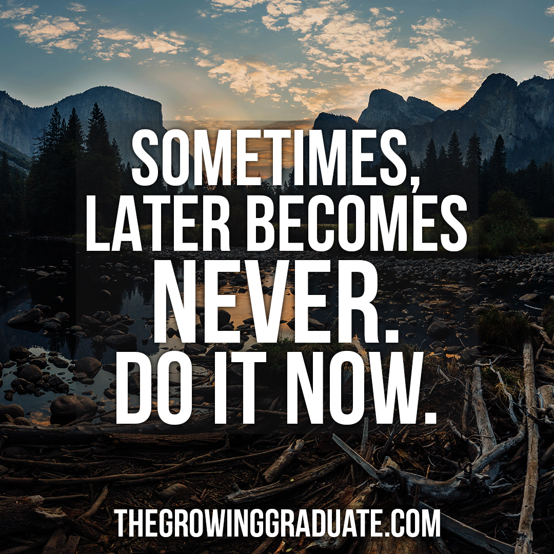 [Image] Sometimes, later becomes never. Do it now.