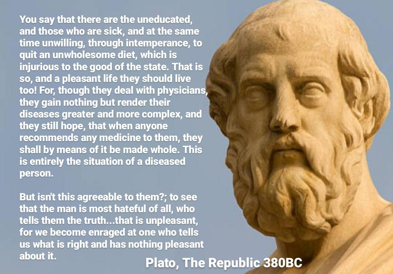 Plato with 2,400 year-old wisdom