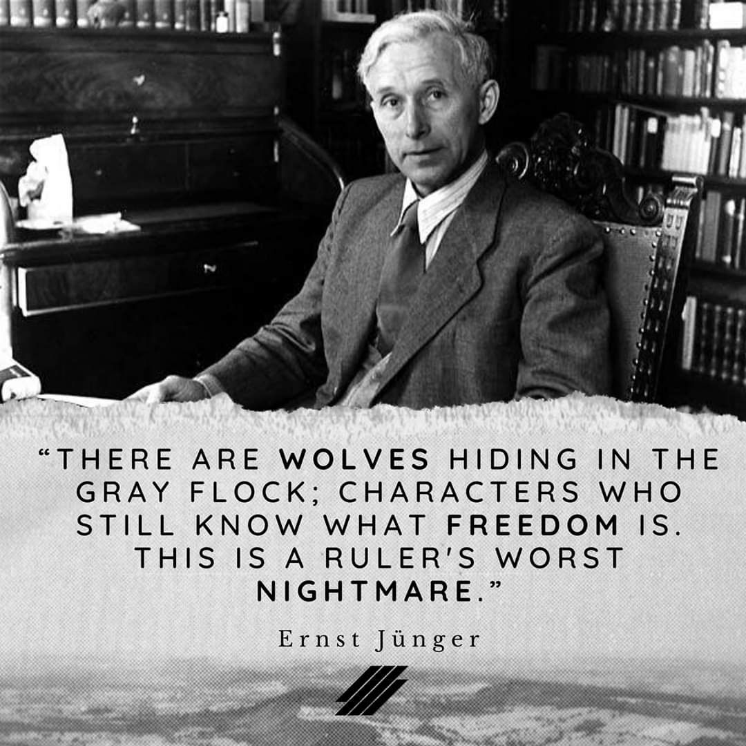 """There are wolves hiding in. The gray flock; Characters who still know what freedom is. This is a ruler's worst Nightmare"". – Ernst Jünger [1080×1080]"