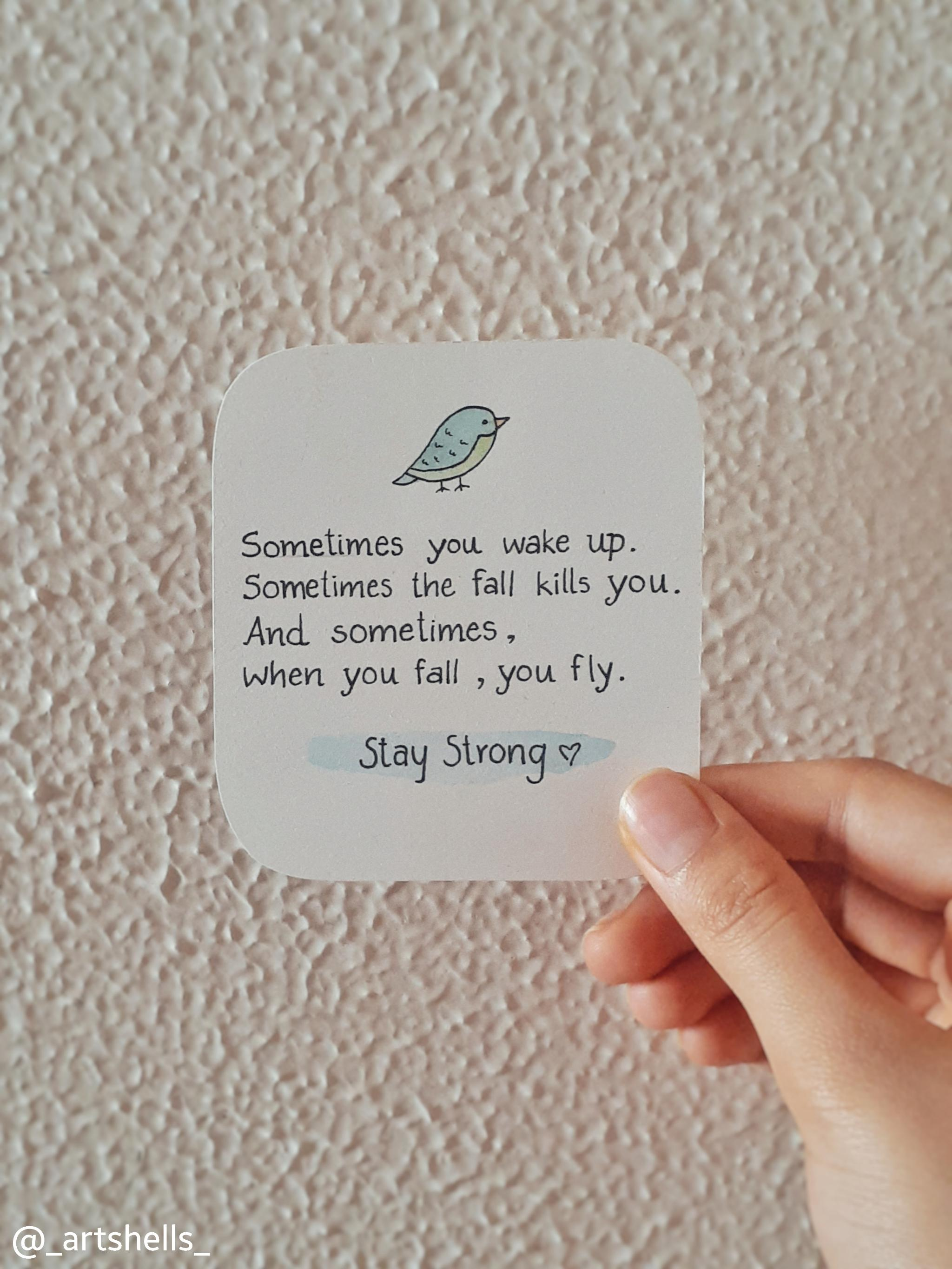 Sometimes you wake up. Sometimes the fall kills you. And sometimes, when you fall, you fly. – By Neil Gaiman. [2730 ×2048]